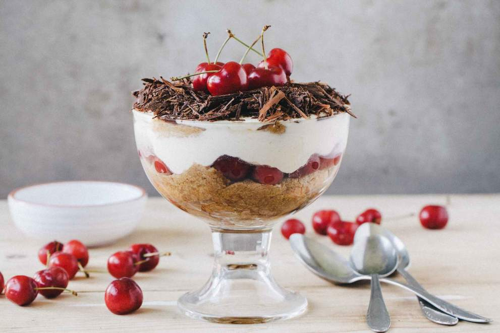 Cherry Tiramisu served in a bowl with shaved chocolate