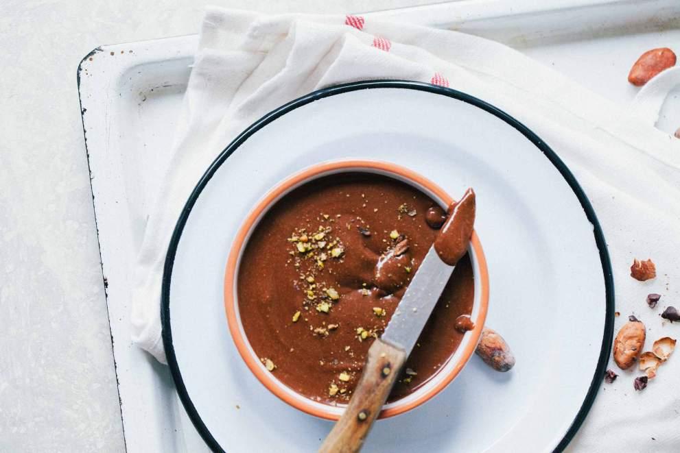 Hazelnut chocolate spread served in a bowl