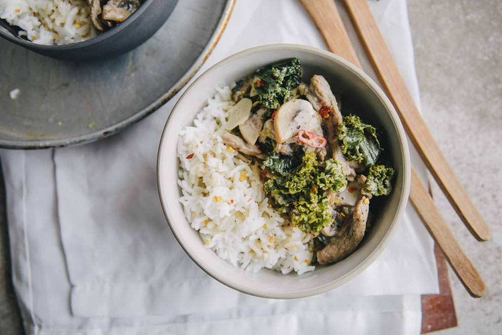 Quick Beef stroganoff with Kale served with rice