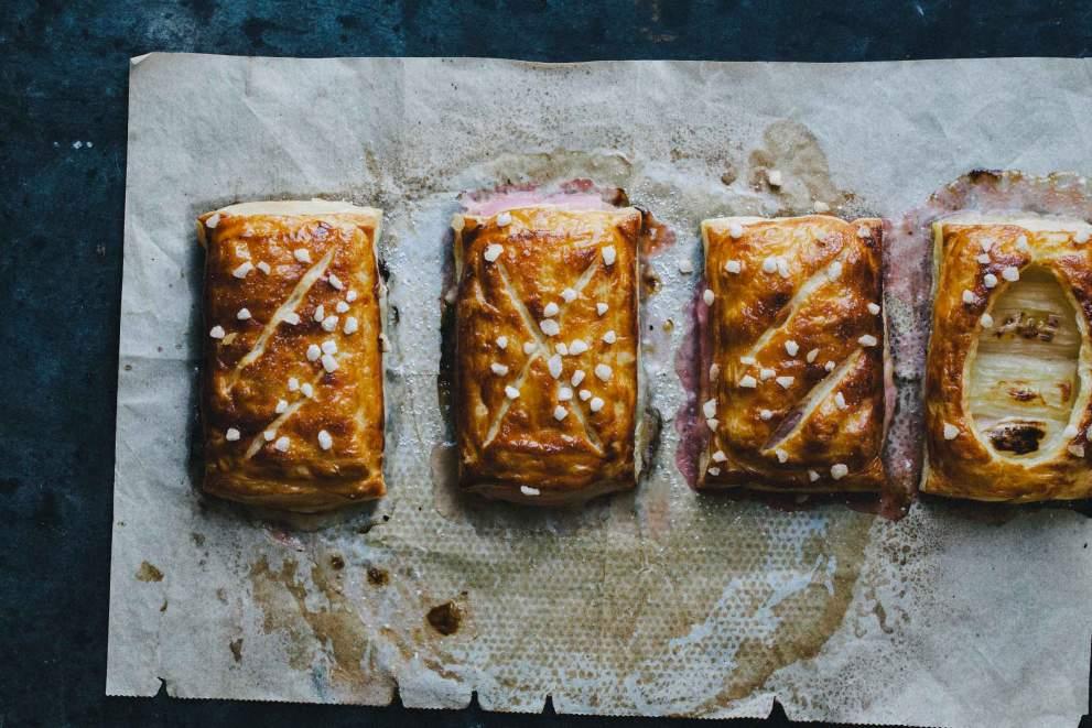 Rhubarb hand pies with pearl sugar and sabayon