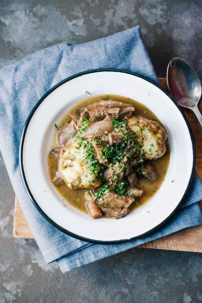 Braised beef stew with fluffy dumplings