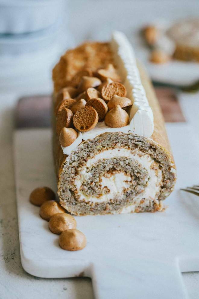 Flourless Carrot Roulade with Sour Cream and little meringues