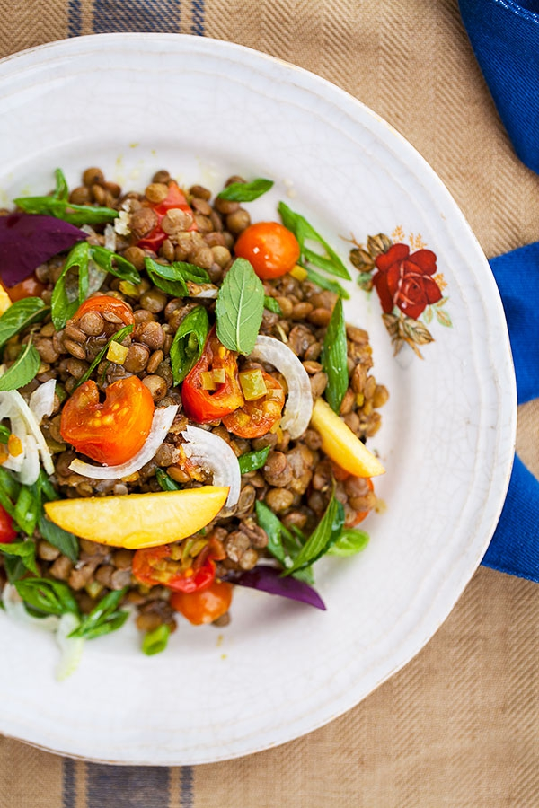 Lentil and Nectarine Salad on a plate