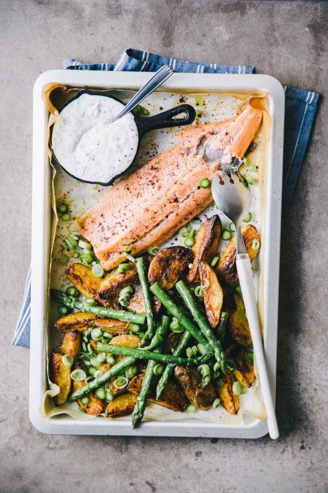Roasted New Potatoes, Trout and Asparagus Traybake