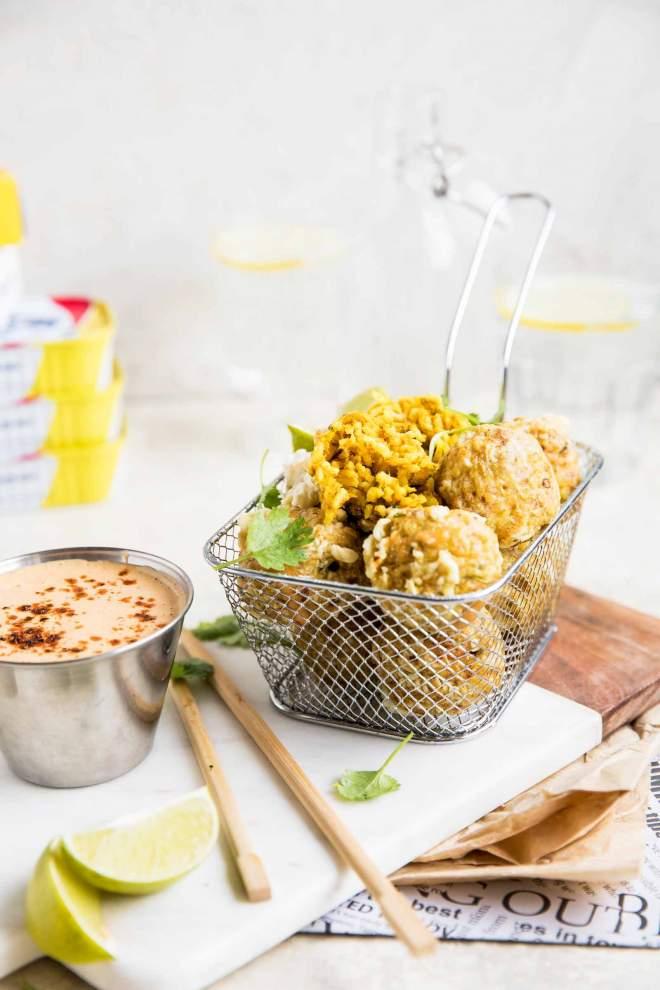 Tempura Rice Balls with Mackerel and Peanut Sauce